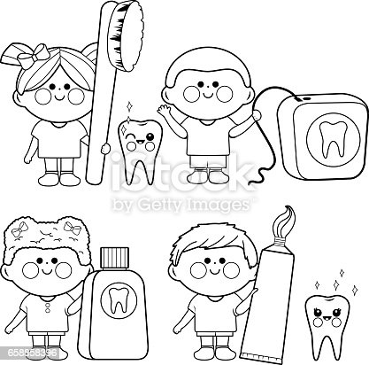 Kids Dental Vector Set Coloring Book Page Stock Vector Art