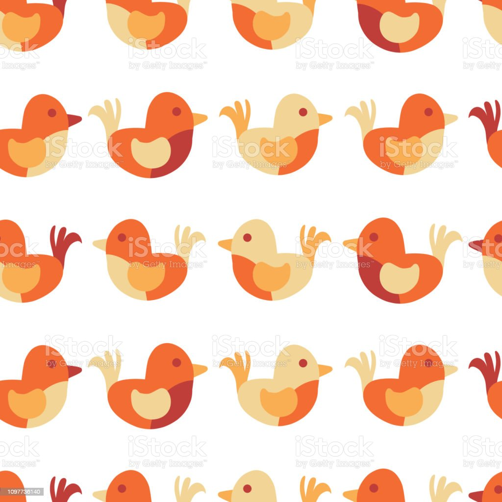 Kids design. Cute bird seamless vector pattern vector art illustration