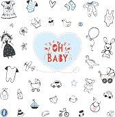 Set of baby shower design elements. Vector illustration.