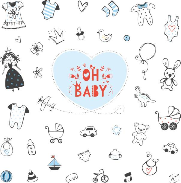 Kids Design Set_04 Set of baby shower design elements. Vector illustration. baby clothing stock illustrations