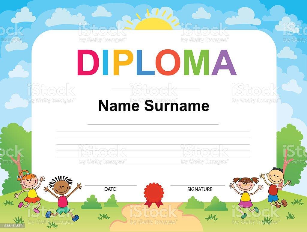 Ilustración de Niños Diploma Certificado Plantilla De Diseño De ...