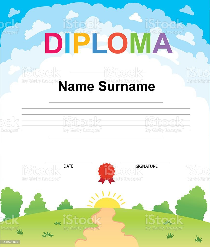 Kids diploma certificate background design template stock vector kids diploma certificate background design template royalty free stock vector art xflitez Images