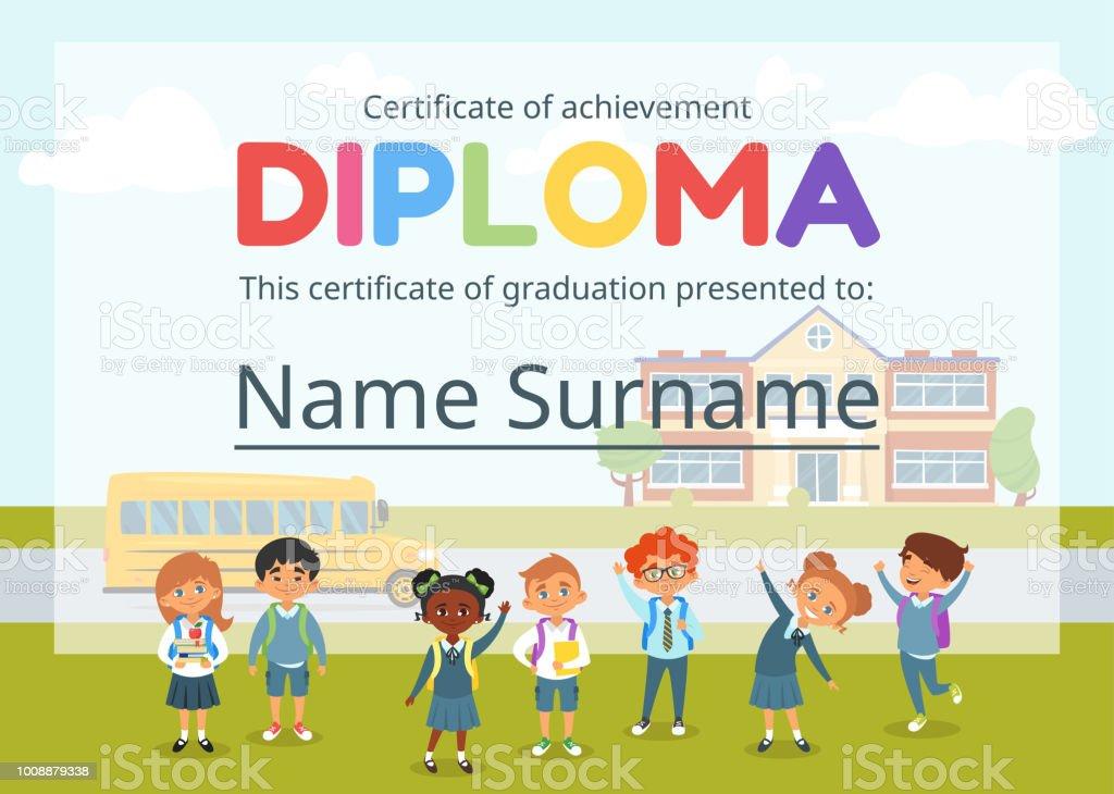 kids diploma certificate for preschool stock vector art more