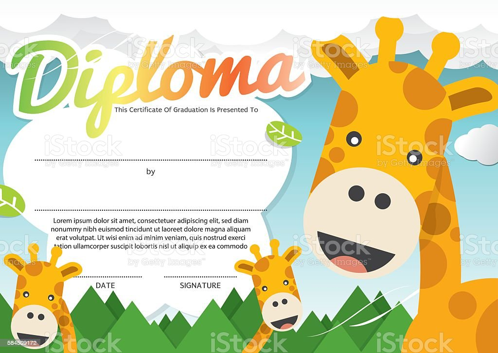kids diploma certificate template vector illustration のイラスト素材