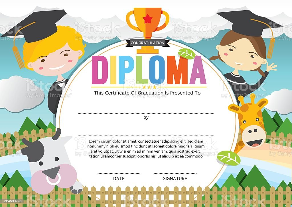 Kids diploma certificate template vector illustration stock vector kids diploma certificate template vector illustration royalty free stock vector art yadclub Image collections