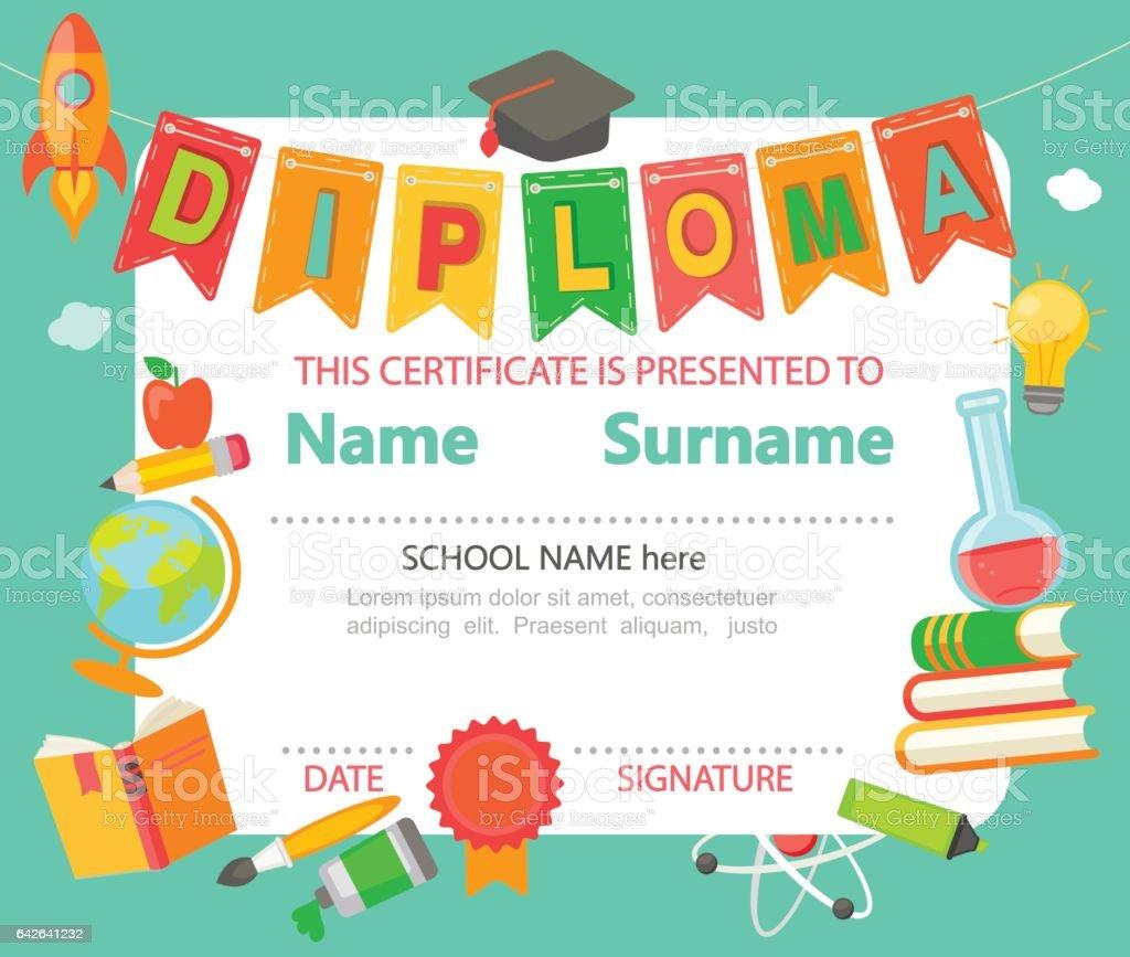 Kids Diploma Certificate stock vector art 642641232 – Certificate of Achievement for Kids