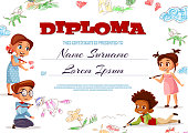 Diploma template vector illustration of kindergarten certificate for kids. Cartoon design of boys and girls children with color pencils and funny chalk drawings for graduation or education award