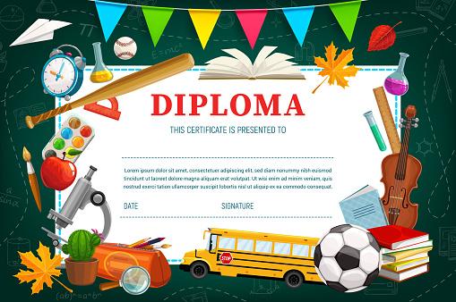 Kids diploma for kindergarten or school