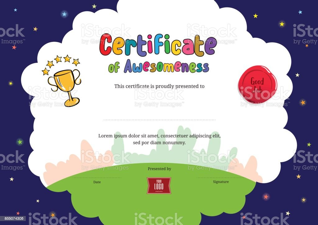 Kids Diploma or certificate of awesomeness template cartoon style background vector art illustration