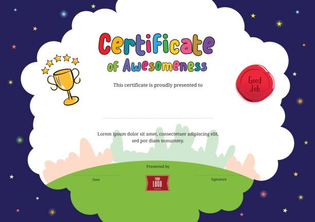 kids diploma or certificate of awesomeness template cartoon style background - certificate and awards frames stock illustrations, clip art, cartoons, & icons