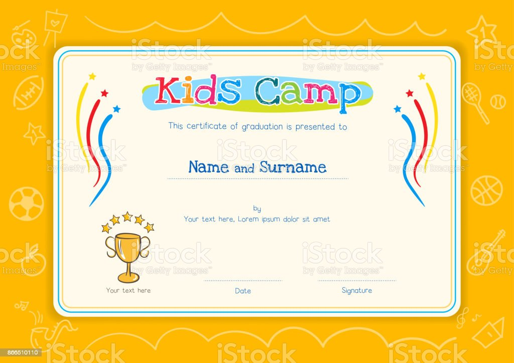 Kids Diploma Or Certificate Template For Kids Camp With Hand Drawing