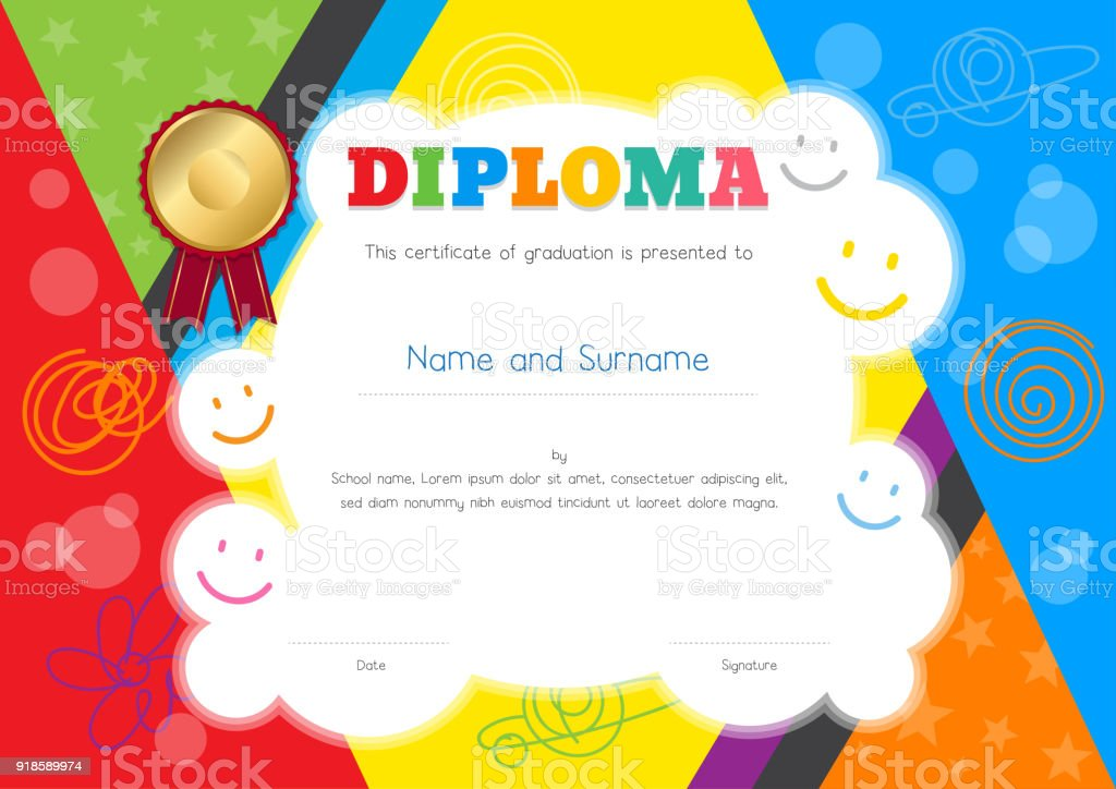 kids diploma or certificate template with colorful and