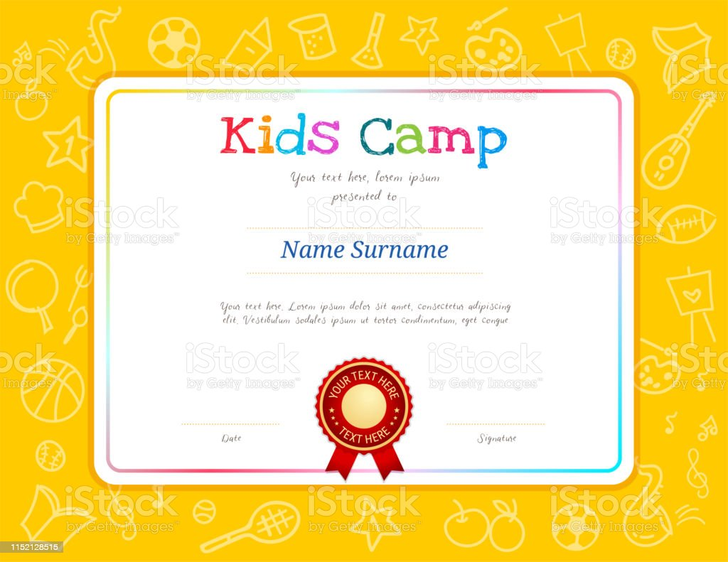 Kids Diploma Or Certificate Template With Colorful ...
