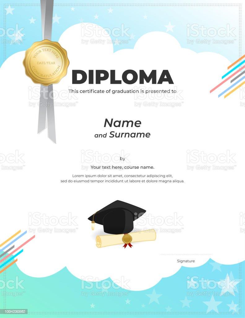 Ilustración de Plantilla De Diploma O Certificado De Los Niños Con ...