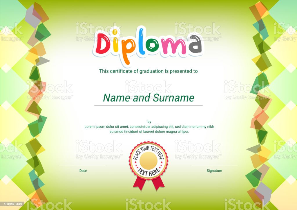 Kids Diploma or certificate template with colorful background vector art illustration