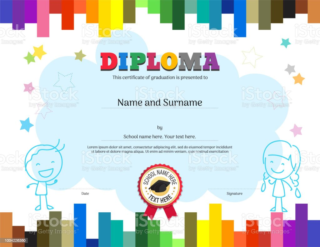 Kids Diploma Or Certificate Template With Colorful Stripe Inside Free Printable Certificate Templates For Kids