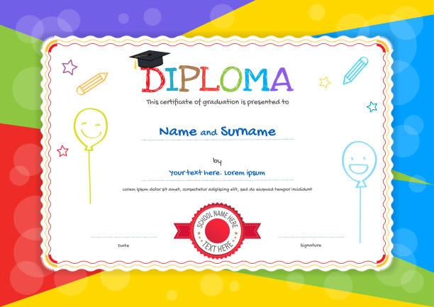 kids diploma or certificate template with hand drawing cartoon style background - przedszkole stock illustrations