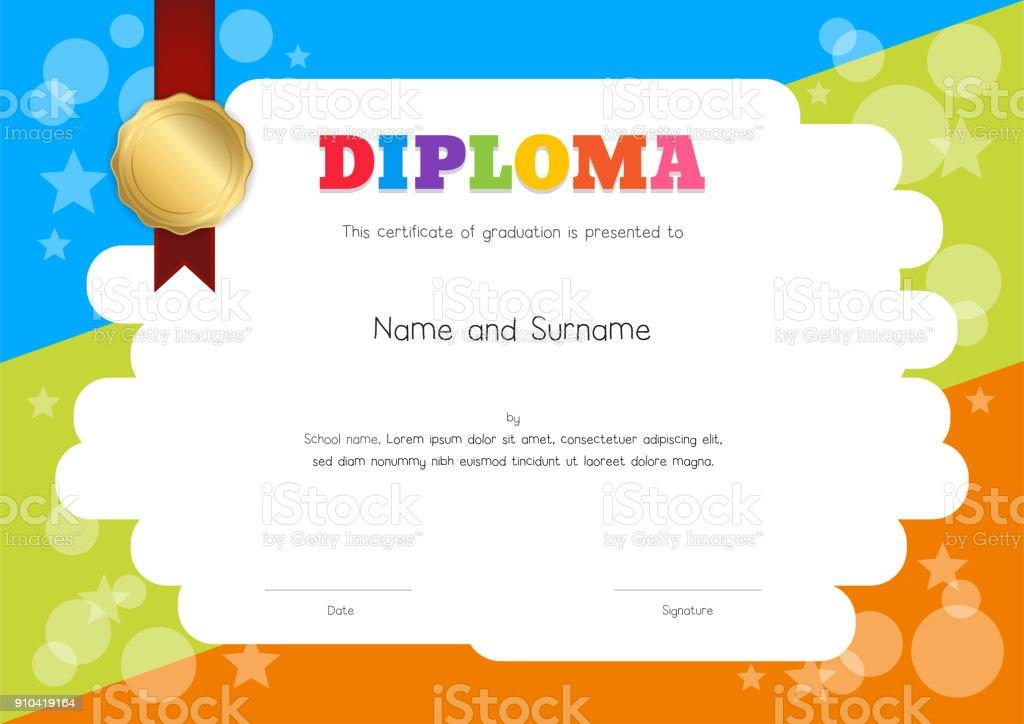 Plantilla de Diploma o certificado de niños con dibujo de fondo de estilo de dibujos animados a mano - ilustración de arte vectorial