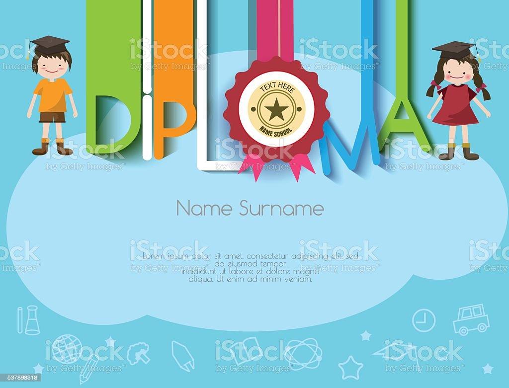 kids diploma preschool certificate elementary school design temp  kids diploma preschool certificate elementary school design temp royalty stock vector art