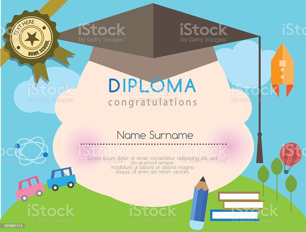 Kids diploma preschool certificate elementary school design kids diploma preschool certificate elementary school design template background royalty free kids diploma preschool yelopaper Image collections