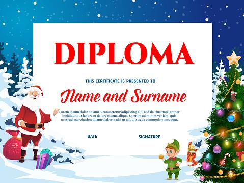 Kids diploma template for christmas celebration