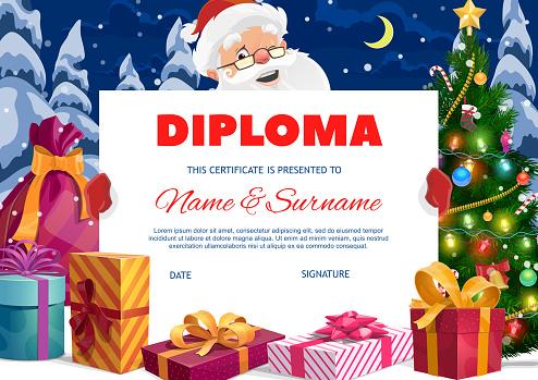 Kids diploma with Santa Claus and gifts