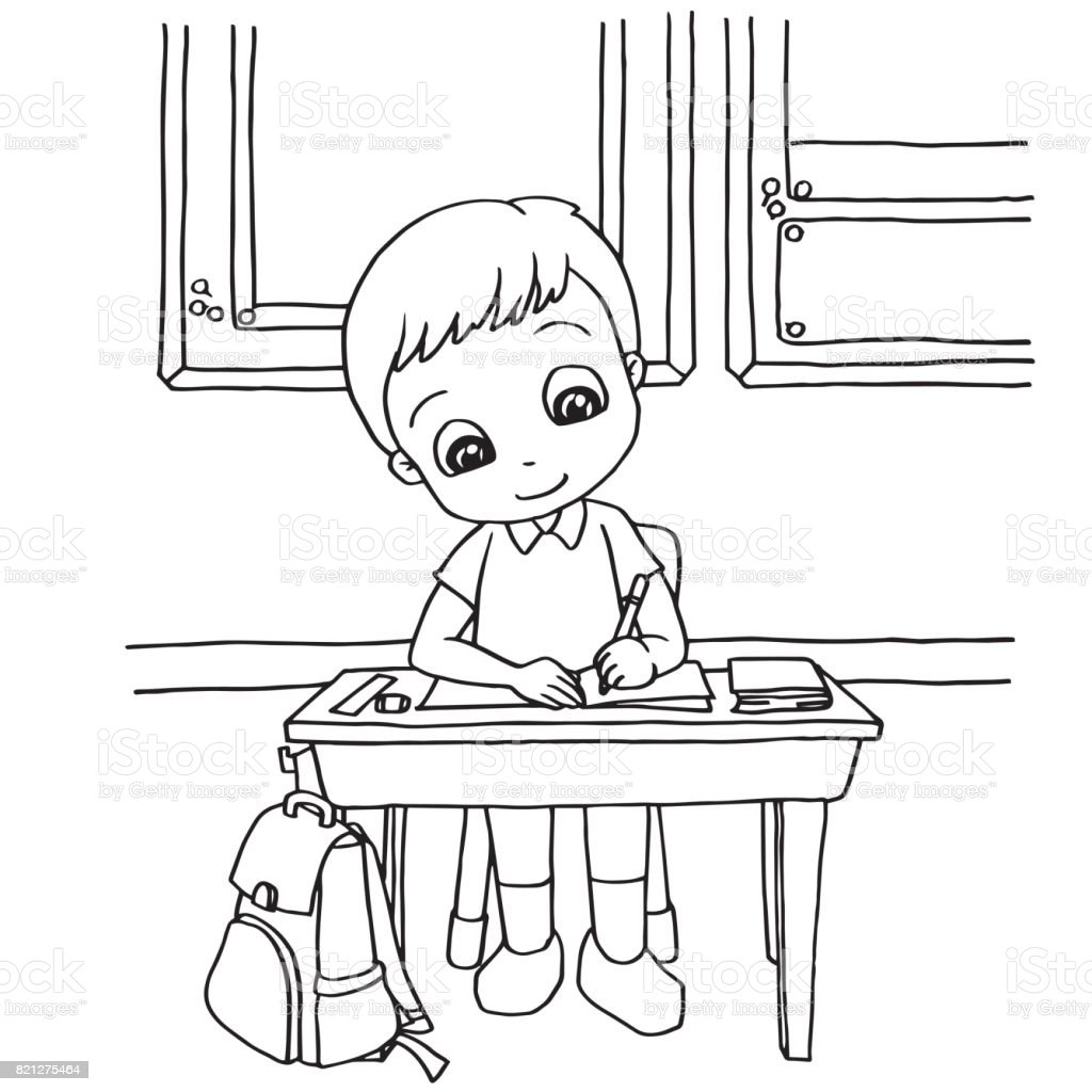 Kids Do Homework In Class Cartoon Coloring Page Vector Stock Vector ...