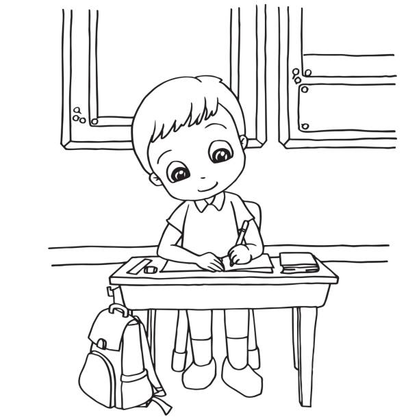 school homework coloring pages | Royalty Free Thailand Student Clip Art, Vector Images ...