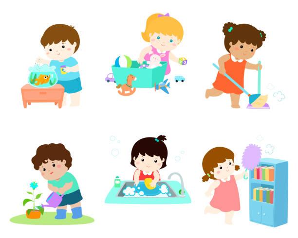 ilustrações, clipart, desenhos animados e ícones de as crianças fazem trabalho doméstico vector conjunto. - afazeres domésticos