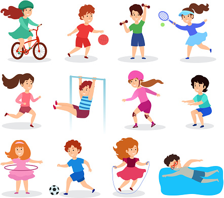 Kids do sport, vector illustration, flat style. Children characters, isolated on white, practicing different sports, physical activities and play. Sportsman sections for boys and girls
