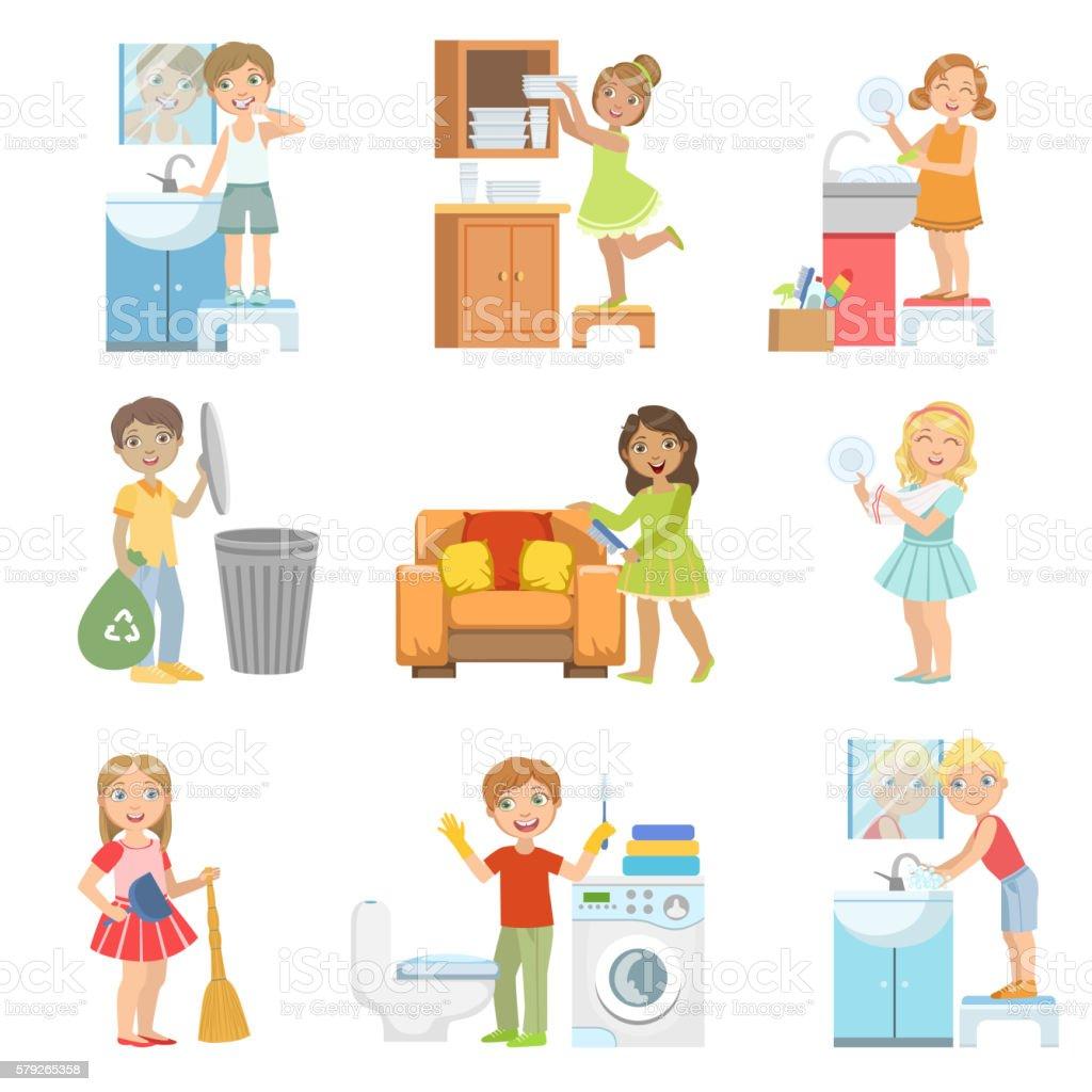 Kids Doing A Home Cleanup vector art illustration