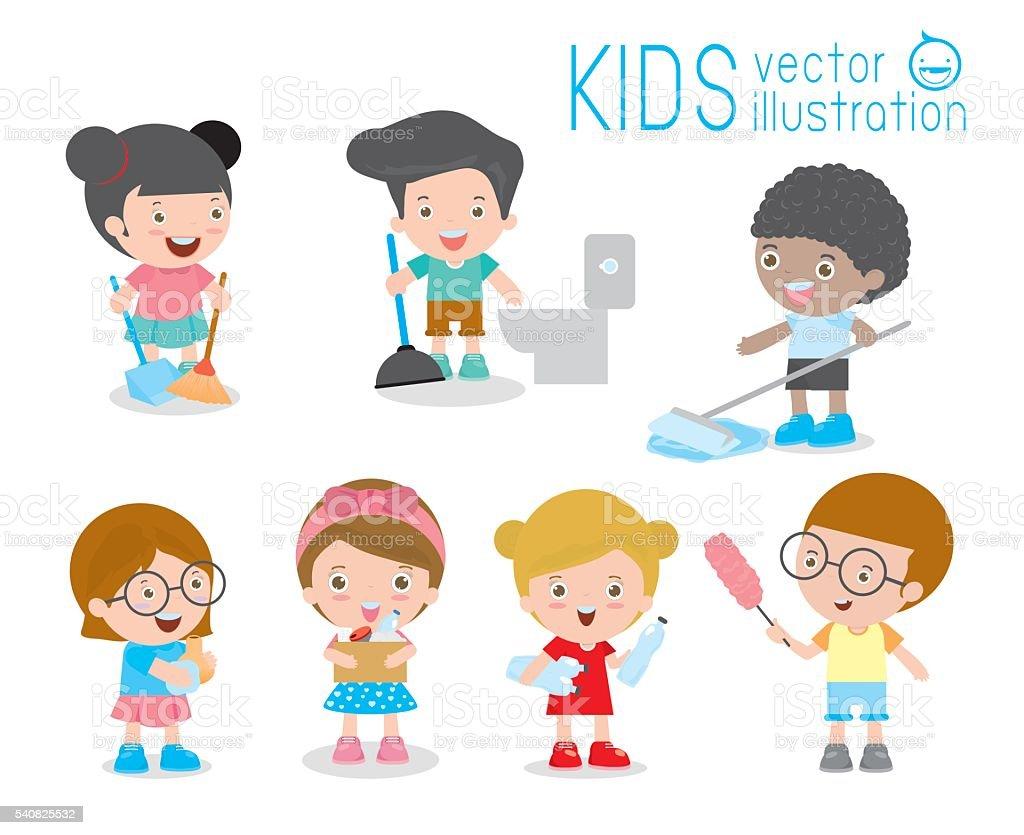 Niños Haciendo Limpieza Niños Lavado Y Limpieza Casa Los Niños De ...