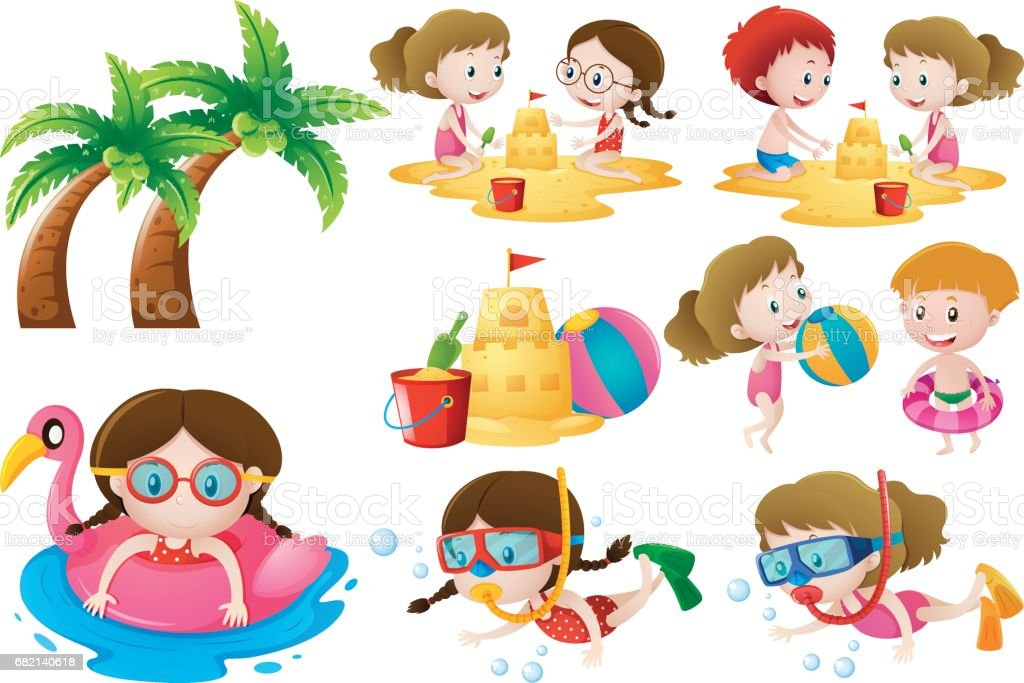 Kids doing different activities on the beach vector art illustration