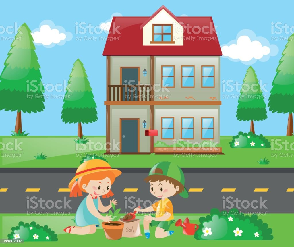 Kids doing gardening at home royalty-free kids doing gardening at home stock vector art & more images of activity