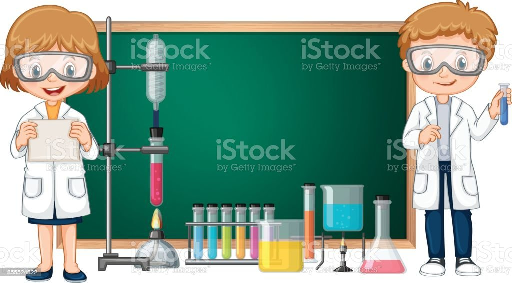 Kids doing science lab experiment with blackboard in background vector art illustration