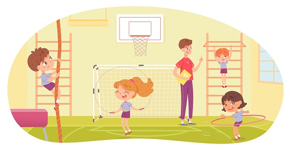 Kids doing various sports in physical education class at school. Children with teacher doing exercise in PE vector illustration. Girl skipping, with hula hoop, boy climbing and hanging on bar