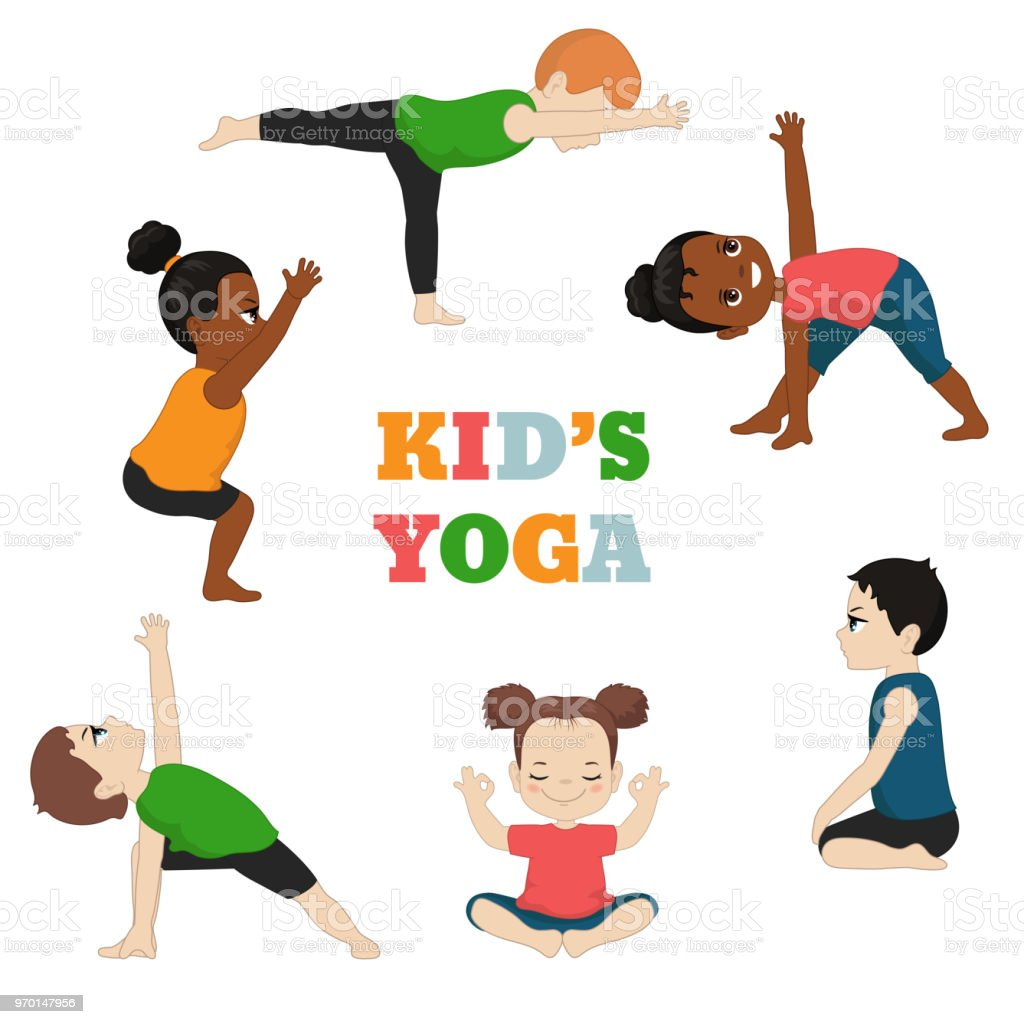 Kids Doing Yoga Stock Illustration - Download Image Now - iStock