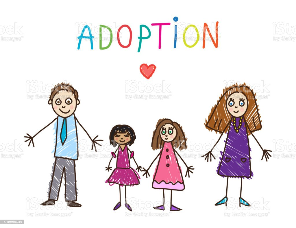 Enfants dessin. Famille adoptive - Illustration vectorielle