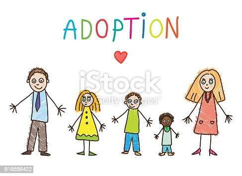 African Adoption. Family with father, mother, two daughters and son vector illustration