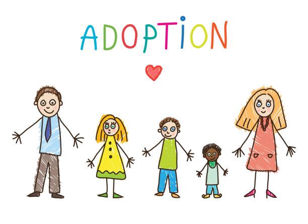 stockillustraties, clipart, cartoons en iconen met kinderen tekenen. adoptieve familie - adoptie