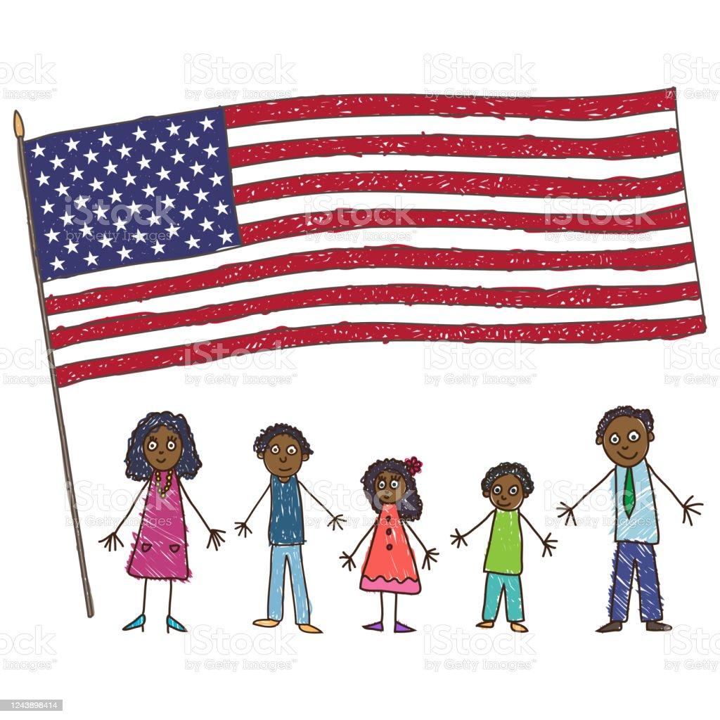 Kids Drawing. African-American family with Flag of the USA. Vector illustration - Векторная графика Афроамериканская этническая группа роялти-фри