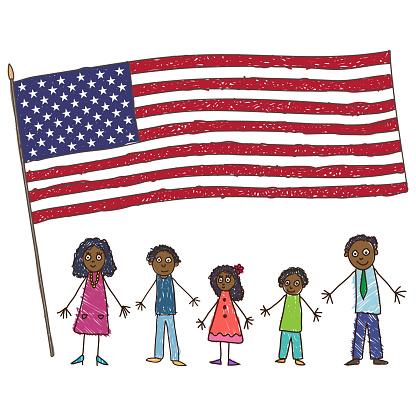 Kids Drawing Africanamerican Family With Flag Of The Usa Vector Illustration — стоковая векторная графика и другие изображения на тему Афроамериканская этническая группа
