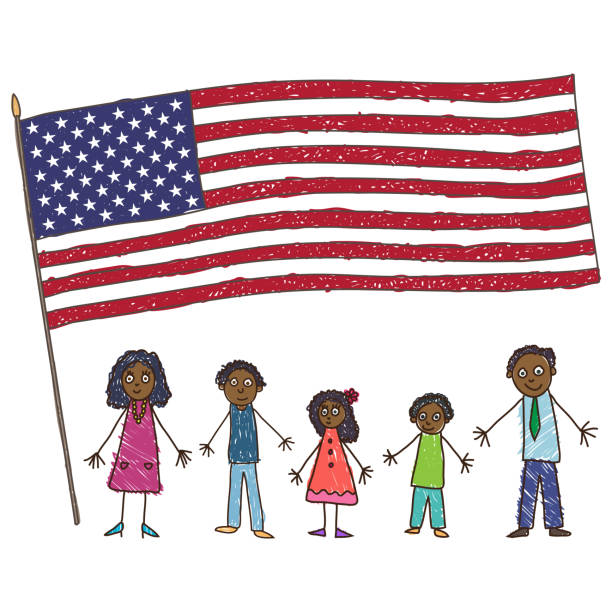 kids drawing. african-american family with flag of the usa. vector illustration - family 4th of july stock illustrations