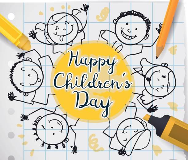stockillustraties, clipart, cartoons en iconen met kinderen van de tekening en school supplies te vieren children's day - kinderdag