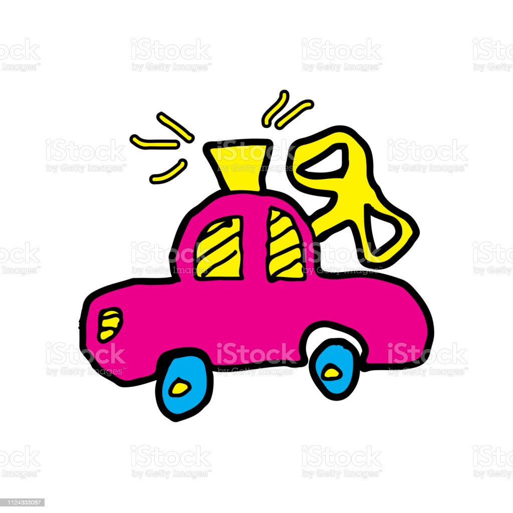 Kids Drawing Cartoon With Theme Of Toy Car Stock Illustration