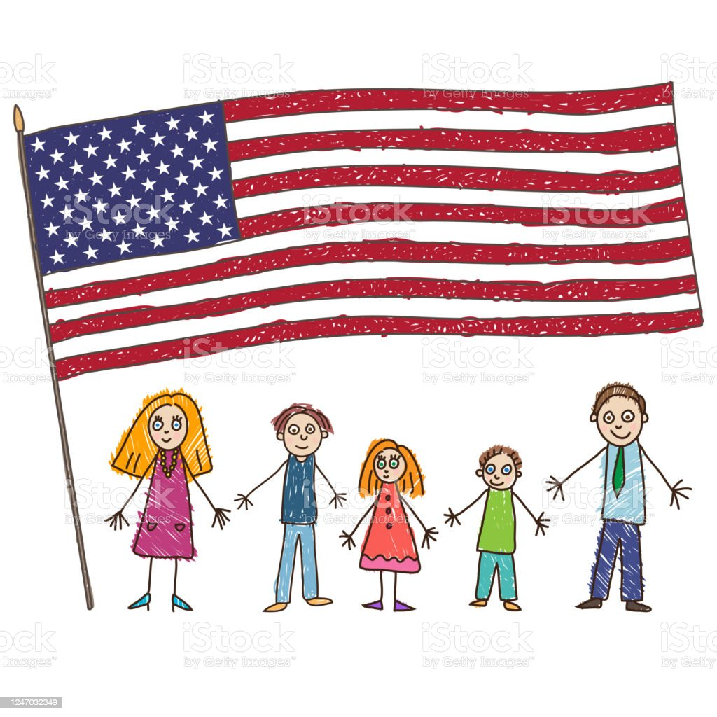 Kids Drawing. Caucasian Family with Flag of the United States. Vector illustration - Векторная графика Близость роялти-фри