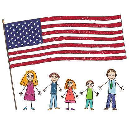 Kids Drawing Caucasian Family With Flag Of The United States Vector Illustration — стоковая векторная графика и другие изображения на тему Близость