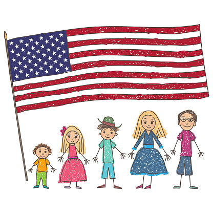 Kids Drawing Caucasian Family With Flag Of The Usa Vector Illustration — стоковая векторная графика и другие изображения на тему Близость