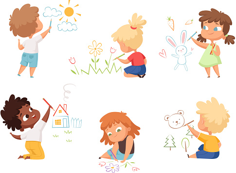 Kids drawing. Children artists educational funny cute childrens boys and girls making different pictures vector characters