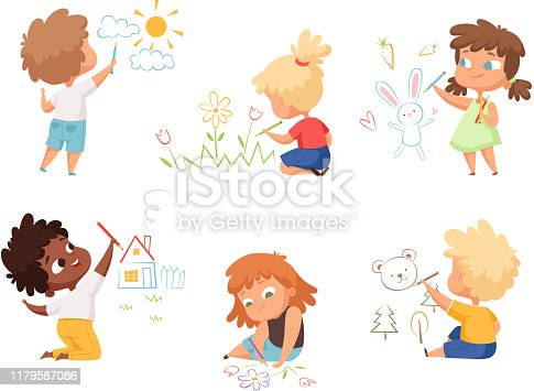 Kids drawing. Children artists educational funny cute childrens boys and girls making different pictures vector characters. Illustration child artist drawing colorful
